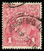 Lot 157:1d Carmine-Pink (G101) Cooke Printing (correct u/v reaction) variety Distorted 'ONE PENNY' [VIII/13] BW #73(4)k, slight thin at top-right, Melbourne '9FE18' datestamp, Cat $500.