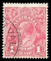 Lot 689:1d Carmine-Pink (G101) Cooke Printing BW #73A, correct u/v reaction, well centred, fine used, Cat $275.