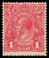 Lot 724:1d Carmine-Pink (G101) Cooke Printing BW #73A, fine well-centred mint, Cat $500. Drury Certificate (2010).