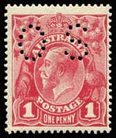Lot 158:1d Carmine-Rose (G104) Harrison Printings Perf 'OS' BW #74Ab, fine MLH, possibly Dryish ink, Cat $375. Drury Certificate (2011).