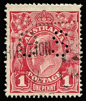 Lot 728:1d Carmine Perf 'OS' (Aniline) Harrison Printing Dry ink BW #74bc, machine cancel, Cat $450.