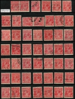 Lot 206 [2 of 3]:1d Red x150, selected fine/very fine examples, generally well centred with full perfs, few official perfins, tidy datestamp or machine cancels, a few unused. (150)