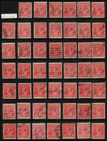 Lot 206 [1 of 3]:1d Red x150, selected fine/very fine examples, generally well centred with full perfs, few official perfins, tidy datestamp or machine cancels, a few unused. (150)