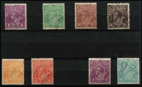 Lot 531 [2 of 2]:1d To 1/4d Selection CTO comprising 1d violet, 1½d green, 1½d black-brown, 1½d brown, 2d orange, 2d scarlet, 4d blue (Cat $100) & 1/4d perf 'OS', 1/4d with gum, others without, Cat $320. (9)