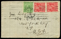 Lot 569:½d Green Comb Perf variety Eight wattles at left [4R34] BW #63(4)p plus 1d red x2 tied by Sydney machine cancel of OC3/1916 to cover to New York.