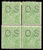 Lot 568:½d Green Comb Perf block of 4 with Double perfs at top and at sides BW #63b, fine mint, Cat $550+.