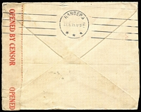 Lot 586 [2 of 2]:1d Deep Red Smooth Paper Die I-II pair BW #71(1)ia plus Die I single on 1915 (Jul 12) censor cover to Denmark, Brisbane censor datestamp in red, Randers arrival backstamp, Cat $750 on cover.