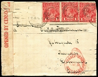 Lot 101 [1 of 2]:1d Deep Red Smooth Paper Die I-II pair BW #71(1)ia plus Die I single on 1915 (Jul 12) censor cover to Denmark, Brisbane censor datestamp in red, Randers arrival backstamp, Cat $750 on cover.