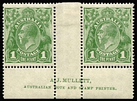 Lot 626:1d Green Dry ink Mullett two-line imprint pair with variety White flaw opposite emu's feet [VI/55] BW #77c(3)zb, mounted in central gutter, stamps MUH, Cat $525+.