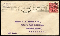 Lot 612:1d Red Die III BW #75 on 1919 (May 8) commercial cover from Melbourne to Adelaide, stamp with small wrinkle at centre-right, Melbourne slogan cancel Cat $400 (on cover).