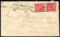 Lot 609:1d Red Rough Paper vertical pair [VII/25&31] lower unit variety Wattle line BW #72(4)f, on 1917 (Jul 11) double-rate cover to England, stamps tied by untidy Melbourne machine cancel, minor edge blemishes. Scarce usage.