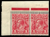 Lot 88:1d Red Smooth Paper Die I-II corner marginal pair with Double Perfs at top BW #71ba(1)ia, Die II unit MUH (minor tonespot on gum). Rare combination of varieties, Cat $1,600++.