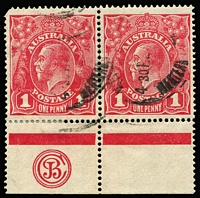 Lot 594:1d Red Smooth Paper Plate 2 'JBC' Monogram pair BW #71(2)zd, perf reinforcement between monogram unit & margin, Cat $450 (for a mint single unit). Used monograms are much rarer than mint.
