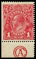 Lot 597:1d Red Smooth Paper Plate 3 'CA' Monogram single BW #71(3)zc, tantalising possibility of being a coil stamp (guillotined vertical perfs) though no evidence of coil join from adjoining stamp, fine MLH, Cat $400.