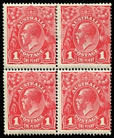 Lot 573 [2 of 2]:1d Red Smooth Paper Inverted wmk block of 4 x2 (shades) BW #71a, each with MUH lower units, Cat $600+. (2 blocks)
