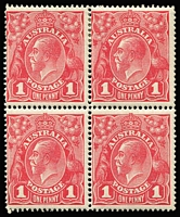Lot 573 [1 of 2]:1d Red Smooth Paper Inverted wmk block of 4 x2 (shades) BW #71a, each with MUH lower units, Cat $600+. (2 blocks)