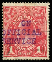 Lot 618:1d Red Smooth Paper with 'ON/OFFICIAL/SERVICE' three-line handstamp in violet, not seen by us before, but unlikely to be a post office marking. Unusual.