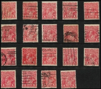 Lot 213 [2 of 2]:1d Red 'Tin Shed' Flaws of varying degrees x20, stamps in generally good to fine condition. (20)