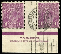 Lot 624:1d Violet Harrison two-line ('N' over 'MP') imprint pair BW #76z, perf separation/reinforcement, postally used with Brisbane machine cancel, very scarce used, Cat $650 (as a mint block of 4).