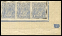 Lot 667:4d Blue Cooke Plates Plate 2 plate dot corner strip of 3 [2R58-60] with the three BW listed varieties BW #112(2)ve-vg, uniform toning, outer units MUH, Cat $525+.