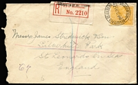 Lot 657 [1 of 2]:4d Yellow-Orange BW #110B solo franking paying 1d postage and 3d registration on 1917 (Jul 13) small commercial cover to England, GPO Melbourne red/white registration label (handstamped Elizabeth Street - Melbourne GPO renamed Elizabeth St on 4/6/1917), London arrival backstamp, roughly opened left.