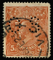 Lot 683:5d Bright Chestnut Rough Paper Perf 'OS' variety Damaged NW corner [1L56] BW #124qb, '28FE23' datestamp (late use for this issue), Cat $750.