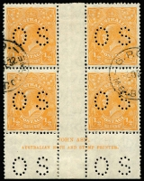Lot 727:½d Orange Electro 8 Ash ('N' over 'N') imprint block of 4 perf 'OS', CTO BW #68(8)zw.