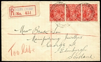 "Lot 731 [1 of 2]:1½d Red Die II BW #92 strip of 3 tied by Southern Cross (WA) datestamps to 1929 (May 24) registered cover to Scotland, red/white provisional registration label, mss ""Too Late"" marking in red crayon, Perth transit backstamp."