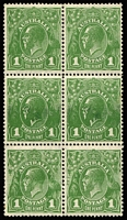 Lot 728:1d Green BW #81 block of 6 (2x3), middle row Excess inking, lower row (crease, perf separation) with Ink stripping, minor gumside blemishes. Impressive piece.