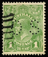 Lot 573:1d Green Die II Perf 'OS' BW #81(1)b, fine used, Cat $350.