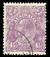 Lot 210:4½d Pale Violet Die II with quarter strike of the rare 'C'WEALTH OFFICES' (Vic) CTO cancel, without gum, Cat $125+.
