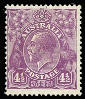 Lot 211:4½d Violet Die II variety Flawed 'A' of 'POSTAGE' BW #121f, lightly struck CTO cancel, Cat $600.