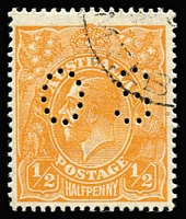 Lot 183:½d Orange CTO perf 'OS', BW #68wd, with gum (mounted), Cat $250. Rare.