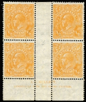 Lot 707:½d Orange Electro 8 Mullett imprint block of 4, lightly struck central CTO datestamp BW #67(8)zw, without gum, Cat $250+.
