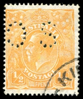 Lot 181:½d Orange Perf 'OS' BW #67ba, very fine used, Cat $325. [Only 101,520 stamps were punctured 'OS'.]
