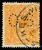 Lot 182:½d Orange Perf 'OS' BW #67ba, few nibbed perfs at right, fined used, Cat $325.