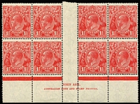Lot 710:1½d Red Die II Ash ('N' over 'A') imprint block of 6 showing Second correction with distinctive dot below 'L' of 'AUSTRALIAN' in imprint BW #91(2)zk, minor perf separations at base, six units MUH, Cat $750. Seldom offered.