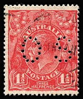 Lot 186:1½d Red Die II Perf 'OS' Slurred printing BW #91bbc, fine used, Cat $100.