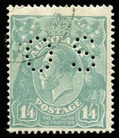 Lot 198:1/4d Greenish Blue Perf 'OS' CTO BW #129wd, with gum, Cat $400.
