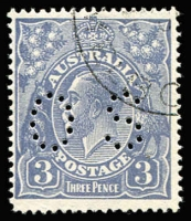 Lot 713:3d Blue Die Ia Perf 'OS' CTO BW #106wa, without gum, Cat $200. Scarce.