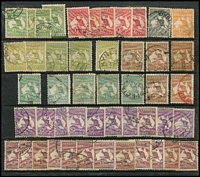 Lot 194 [2 of 2]:Accumulation on Hagner with First Wmk 4d x3, 6d & 1/-, Third Wmk to 1/- x10 & 2/- x2, later issues duplicated to 2/-, variety and postmark potential. (130+)