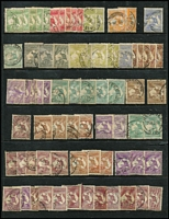 Lot 194 [1 of 2]:Accumulation on Hagner with First Wmk 4d x3, 6d & 1/-, Third Wmk to 1/- x10 & 2/- x2, later issues duplicated to 2/-, variety and postmark potential. (130+)