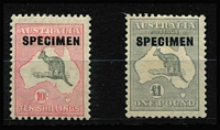 Lot 525 [2 of 2]:10/- To £2 Overprinted 'SPECIMEN' Type 'D' BW #50xe,54x & 58x, key £2 value MUH, Cat $395.