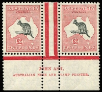 Lot 559:£2 Black & Rose Ash imprint pair, right unit with variety Open-mouthed kangaroo [R55] BW #58za, very fine fresh mint, Cat $25,000.