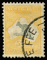 Lot 553:5/- Grey & Yellow variety Break in coast in Gulf of Carpentaria [R30] BW #46(D)p, fine used, Cat $150.