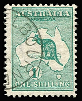 Lot 513:1/- Green Wmk upright with half-strike of Melbourne '[AP1]5\[13]