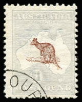 Lot 123:£1 Red-Brown & Blue with Melbourne '[DE5/13]