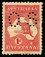 Lot 7 [1 of 2]:1d Red Die IIA Perf 'OS' mild Offset on reverse BW #4(ba)ca, Broken shading lines over 'AU' of 'AUSTRALIA' & flaw on the 'U', a tad aged, mint with dulled gum, Cat $600+.