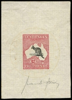 "Lot 522:£2 Black & Rose Sperati Die Proof Forgery signed ""Jean de Sperati"" in pencil at base, on reverse 'sunburst' cachet in bright yellow and BPA 'SPERATI/""50""/REPRODUCTION' handstamp, BW #55cc. Highly significant item, Cat $12,500. RPSL Certificate (1971)."