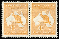 Lot 515:4d Orange (Aniline) pair, BW #15B, few nibbed perfs at top, well centred, mint, Cat $4,000+.